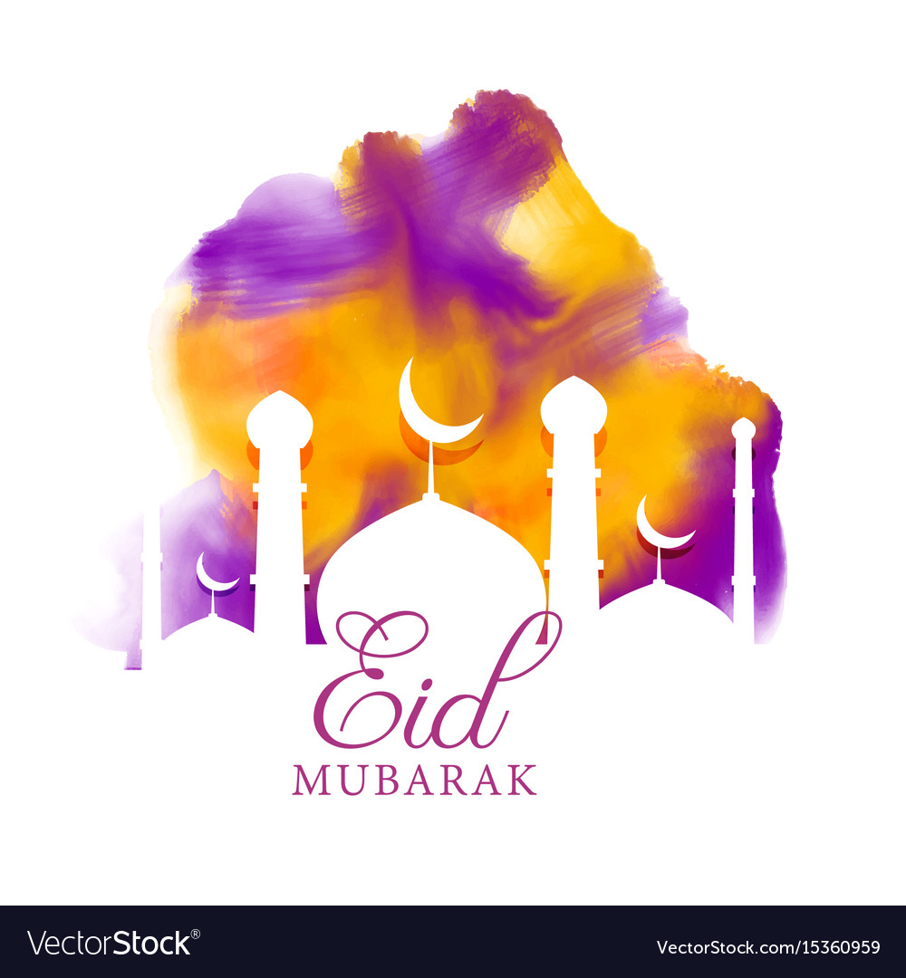 Creative eid greeting with watercolor effect vector image