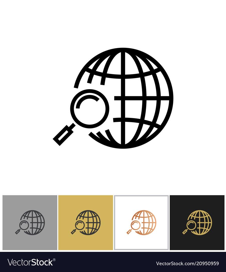 Globe search icon web or internet search symbol vector image