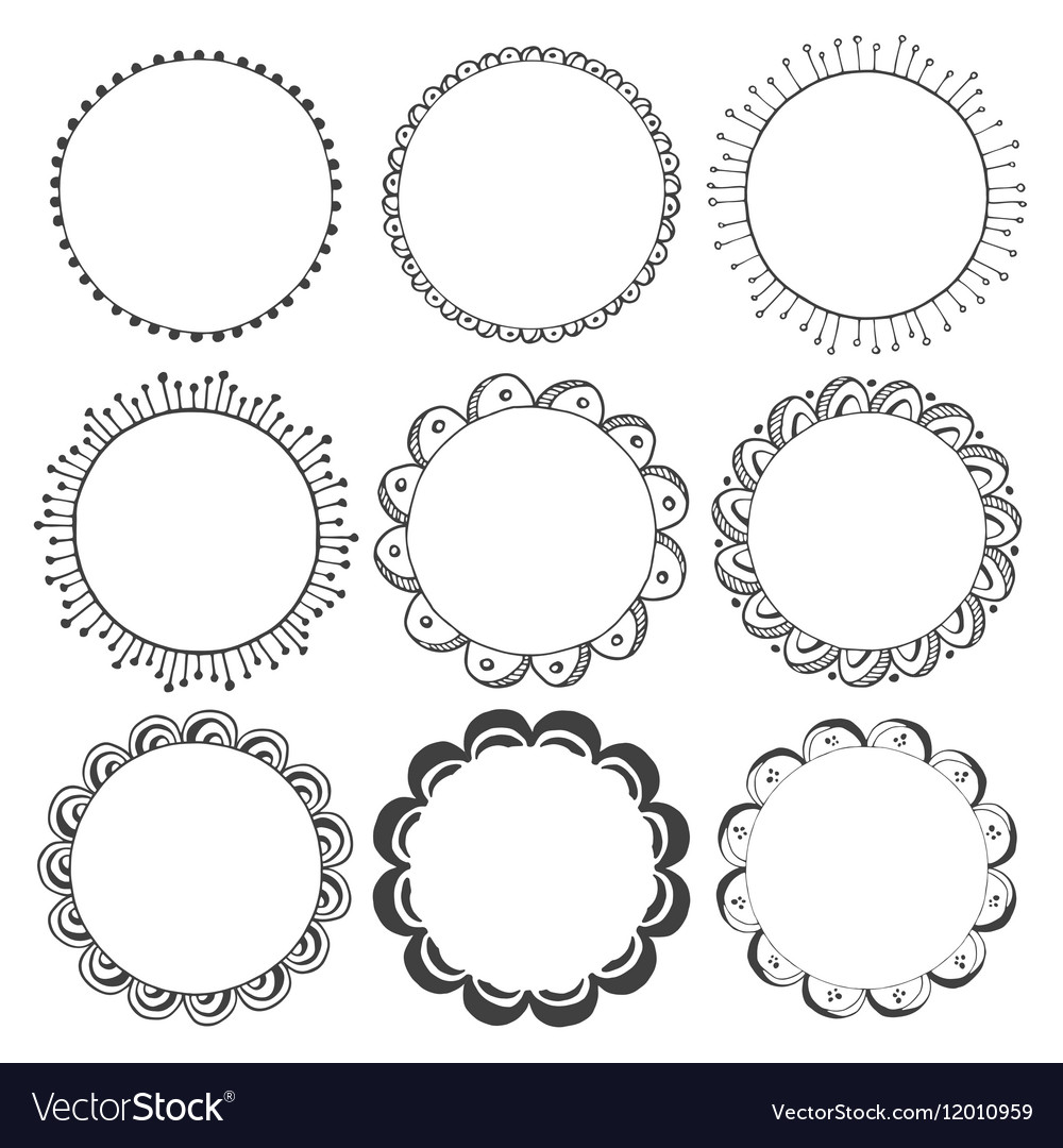 Hand drawn round frames design elements Royalty Free Vector