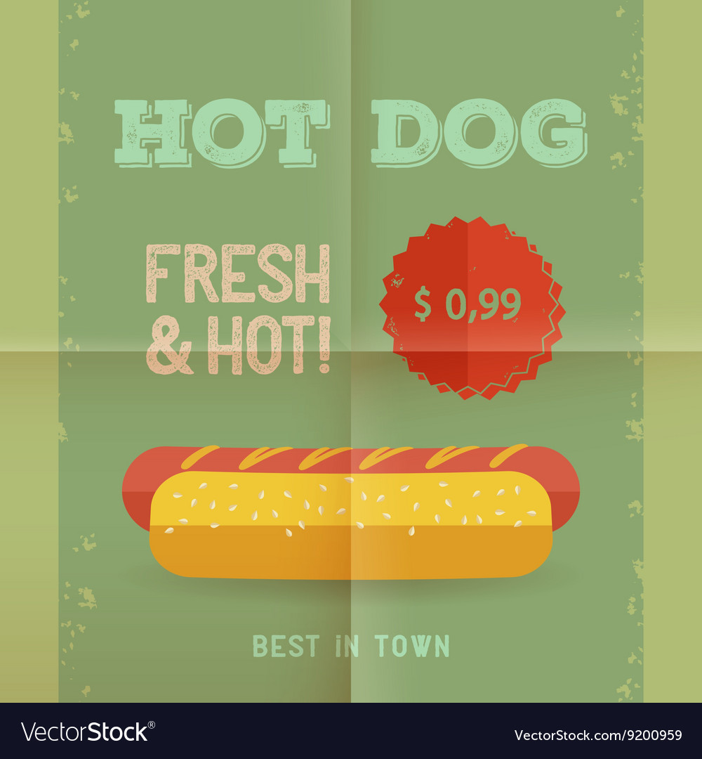 Hot Dog menu vintage poster