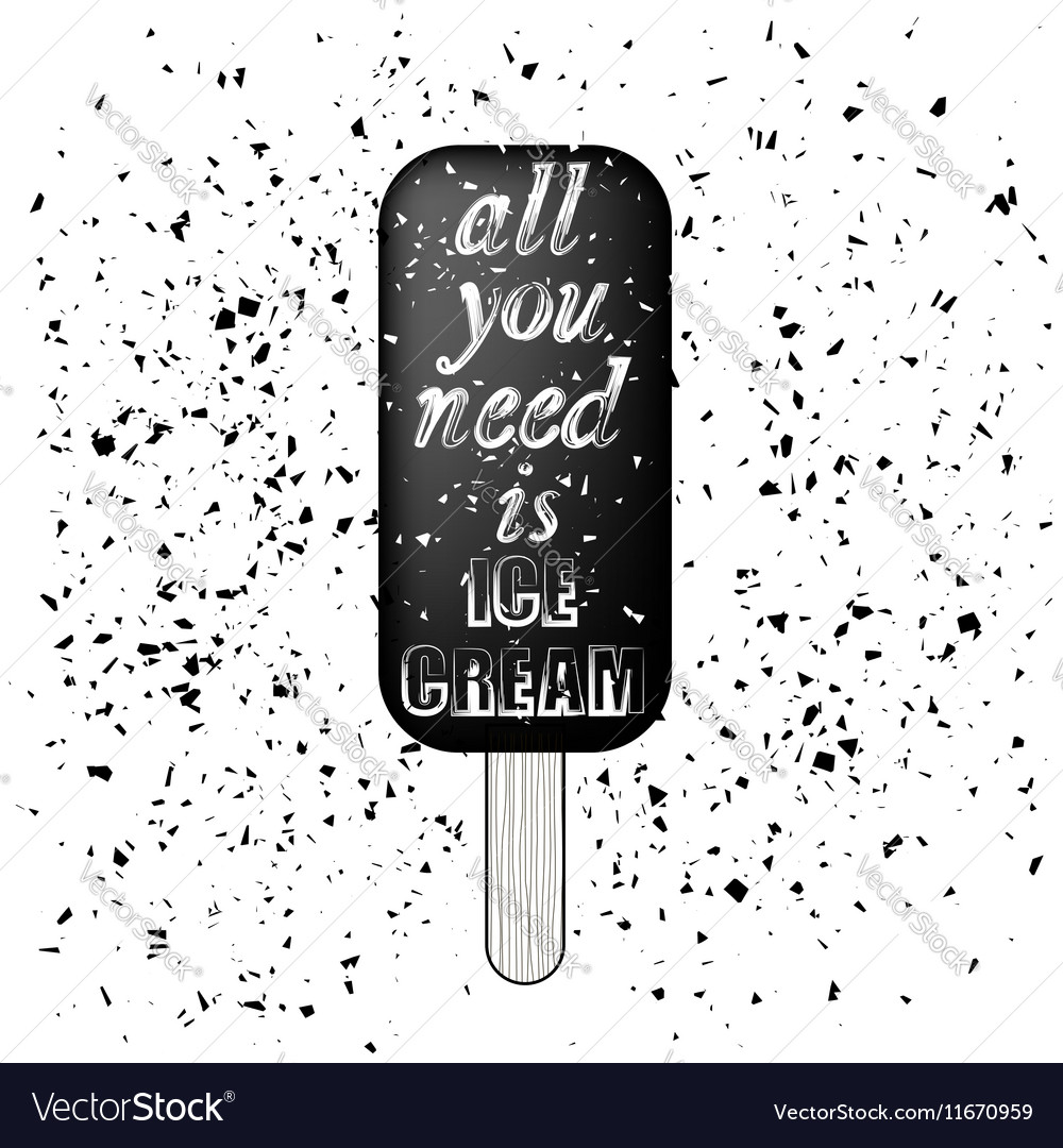Ice Cream Poster on Grunge Particles Background vector image
