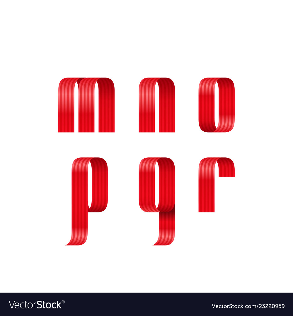 M n o p q r lowercase letters font from a red