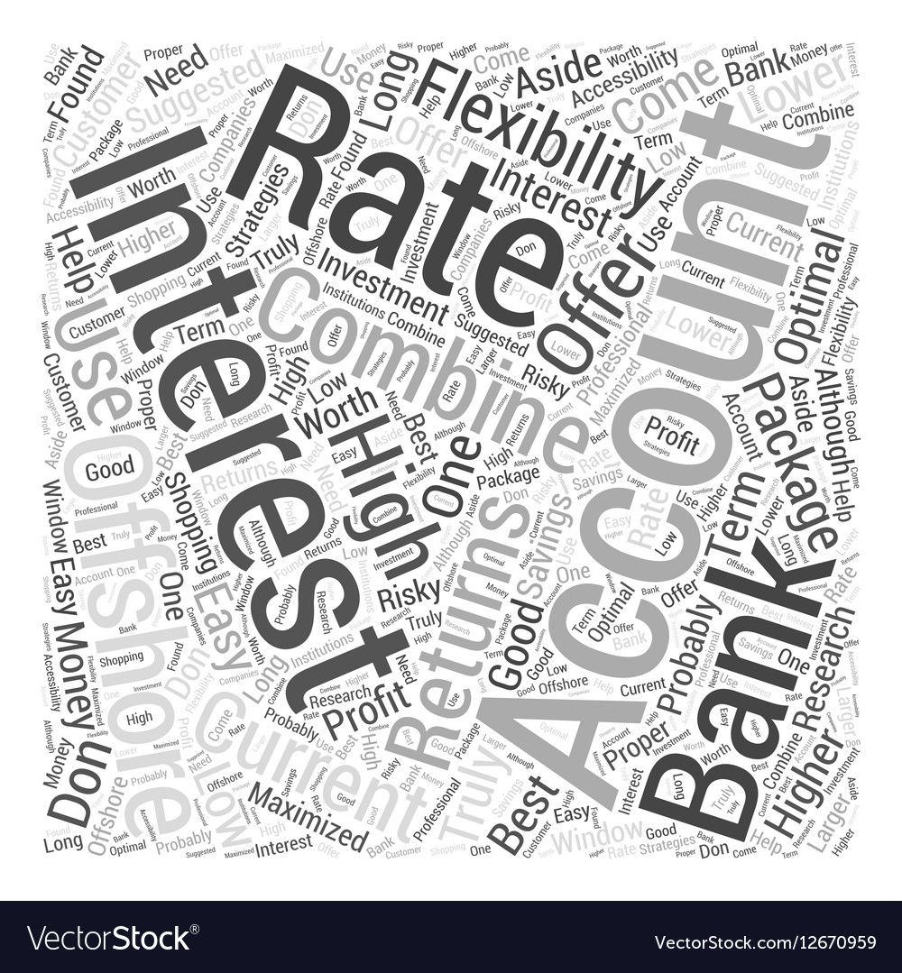 Offshore Banking Interest Rates Word Cloud Concept vector image