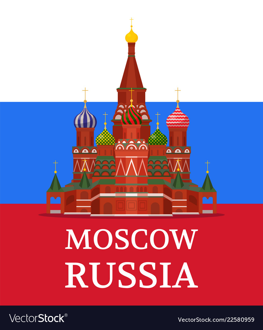 Saint basil cathedral on russian flag color poster