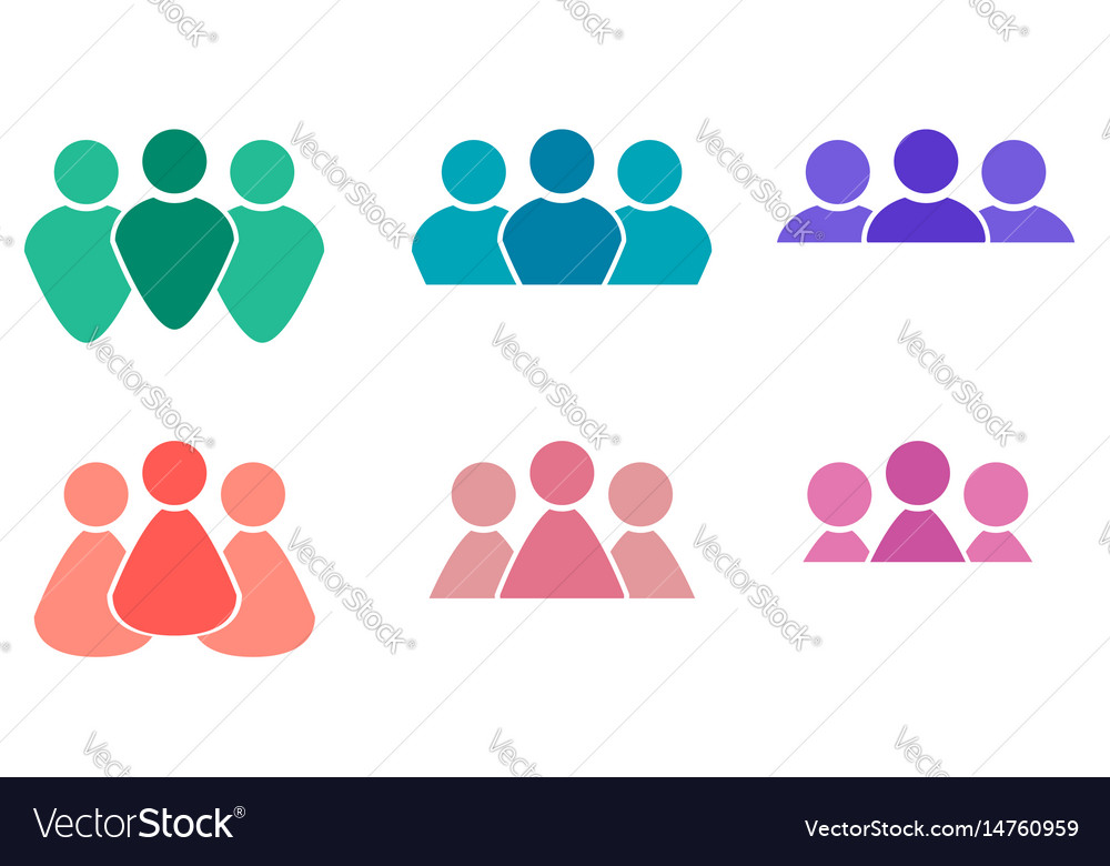 Set of different multicolored icons of men and