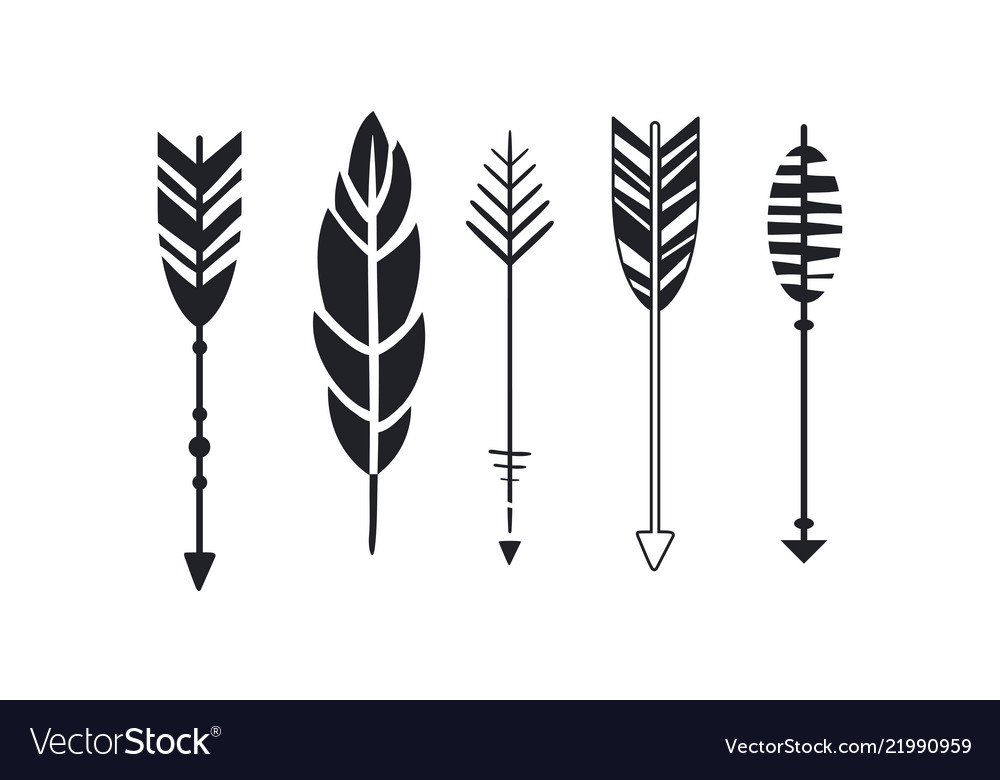 Set of hipster arrows and feather graphic