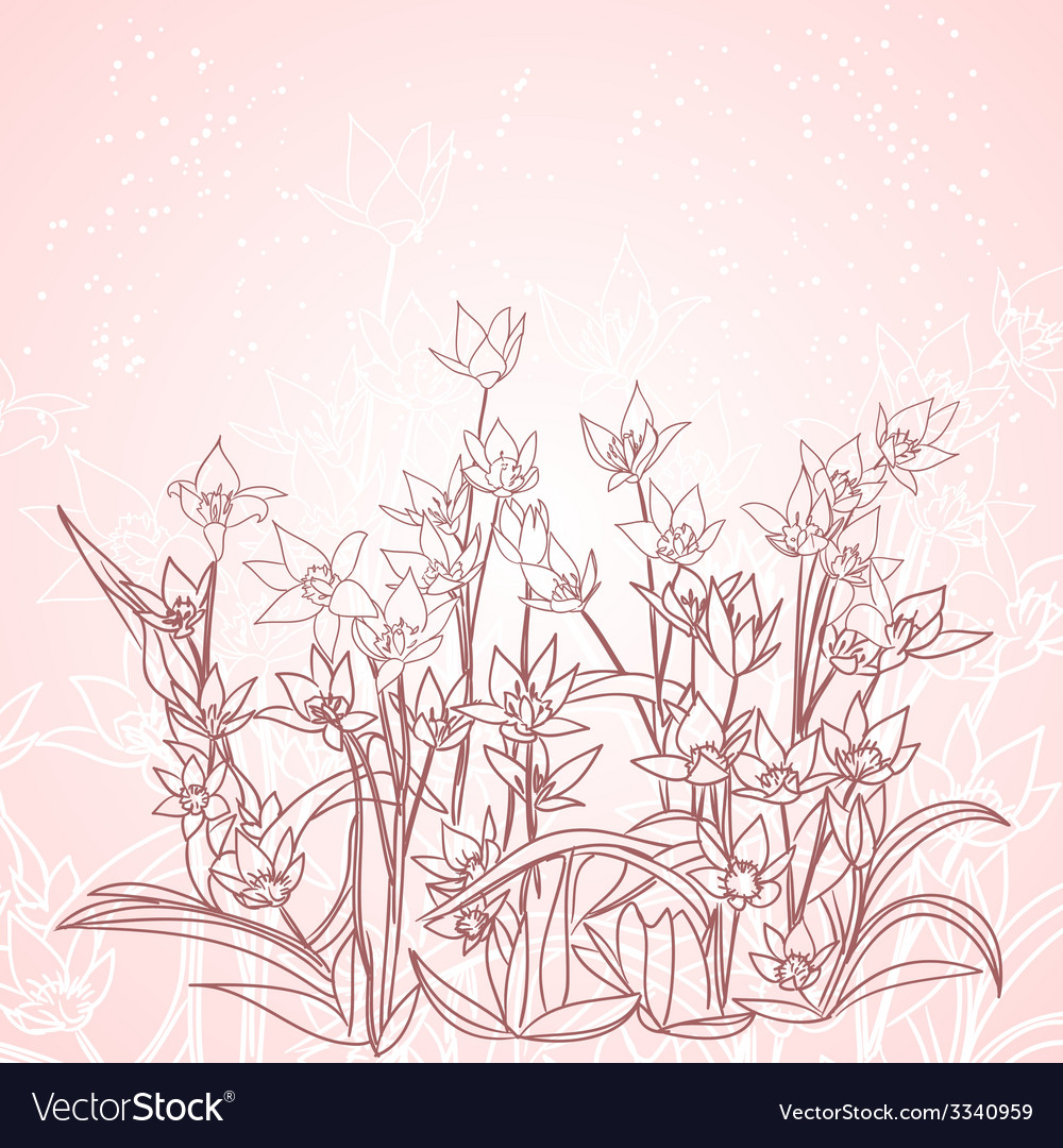Spring flowers outline background royalty free vector image spring flowers outline background vector image mightylinksfo