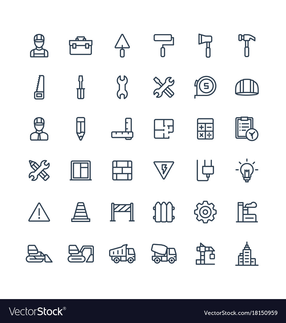 Thin line icons set with construction