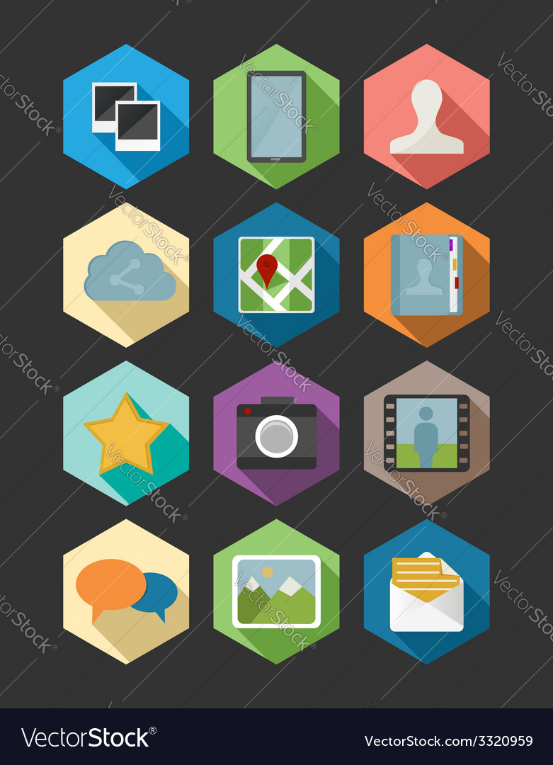 Website and app design flat icons set