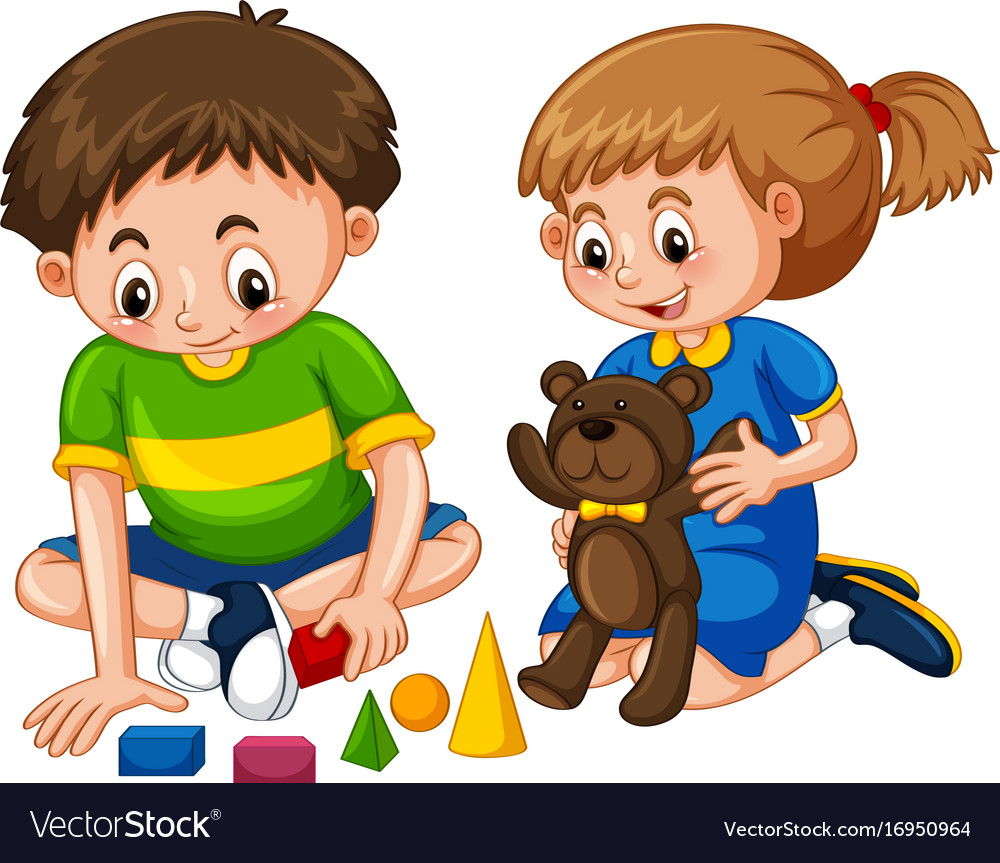 Boy And Girl Play Toys Royalty Free Vector Image