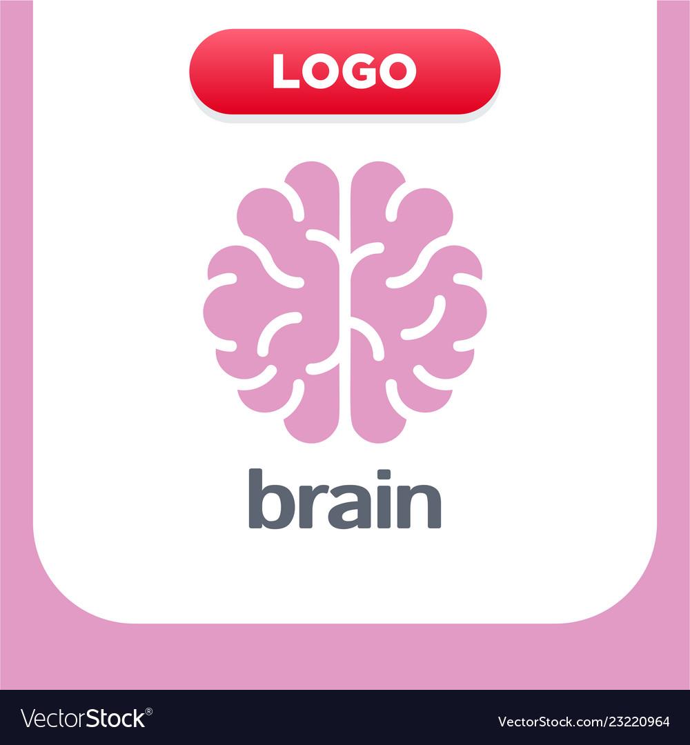 Brain logo silhouette top view design template