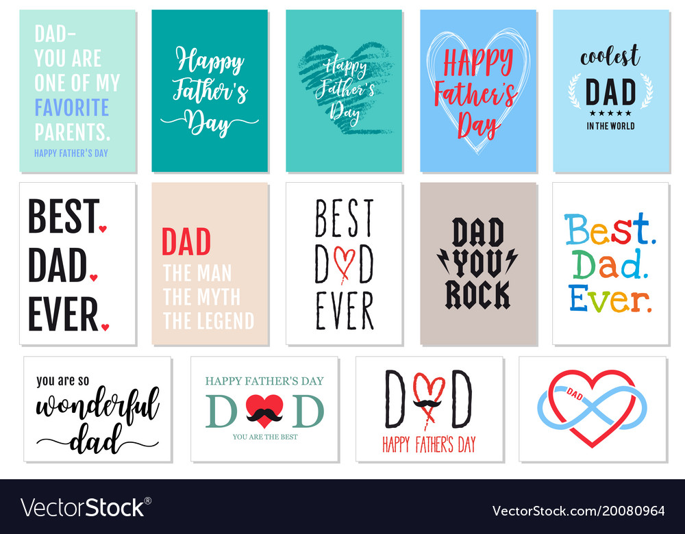 Fathers day cards set