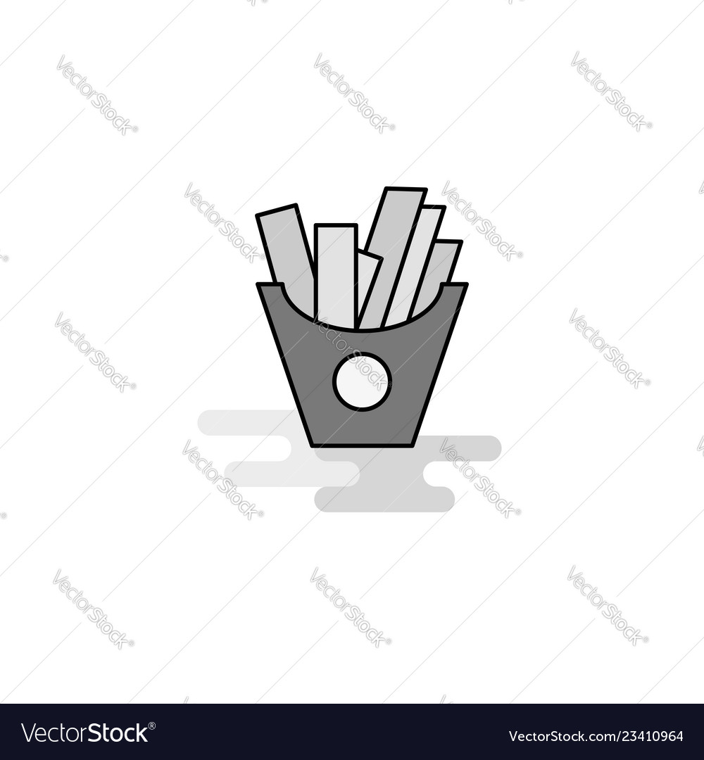 Fries web icon flat line filled gray icon
