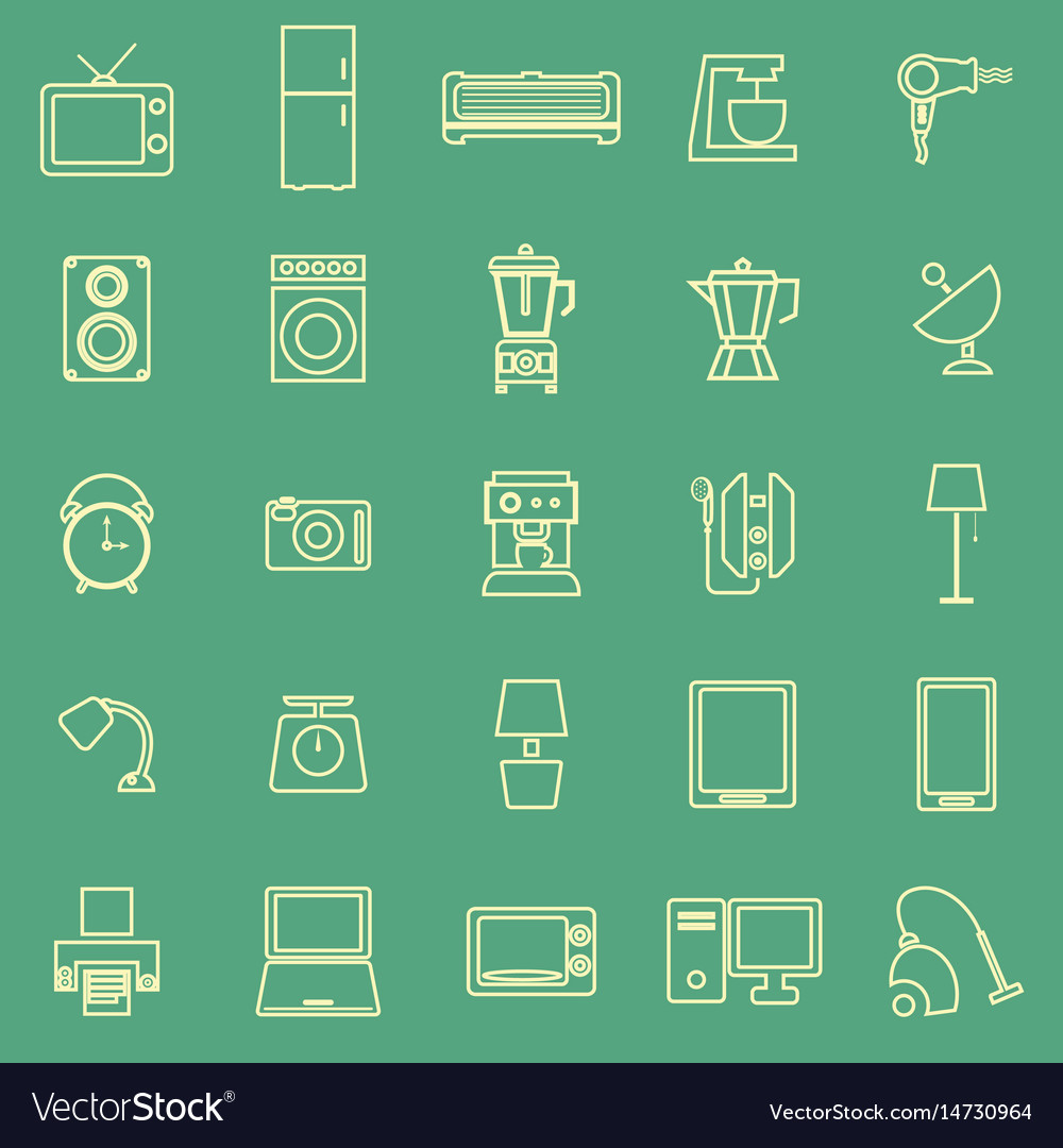 Household line color icons on green background