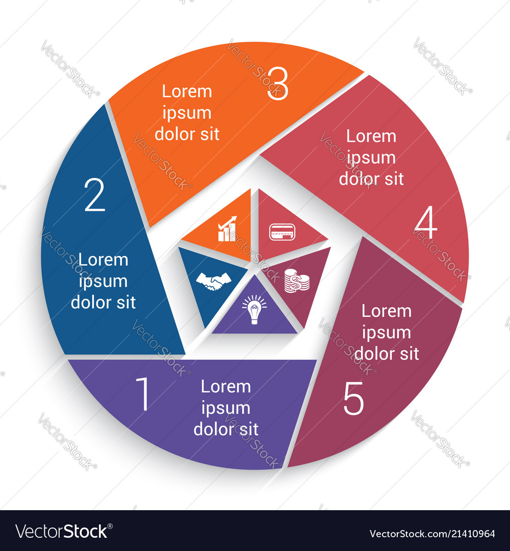 Infographic business pie chart for 5 options