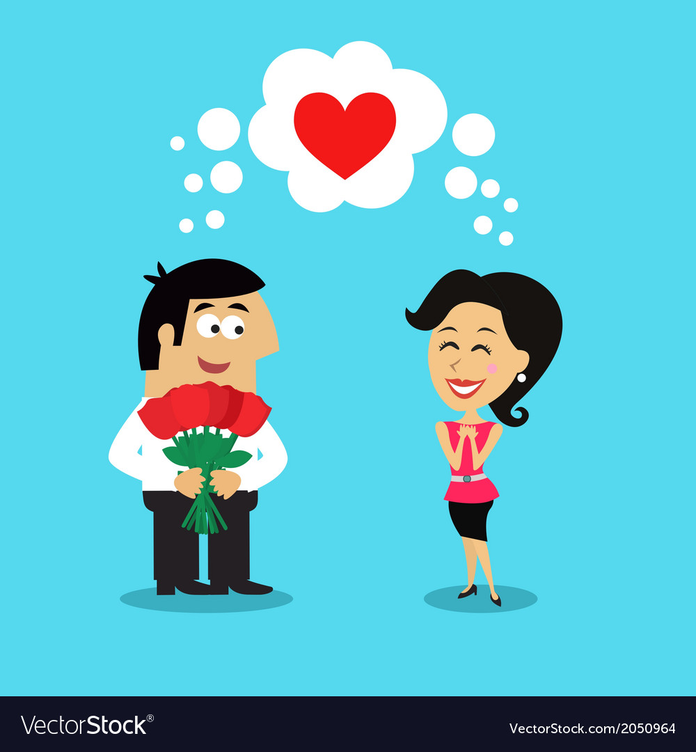 Man giving girl flowers vector image