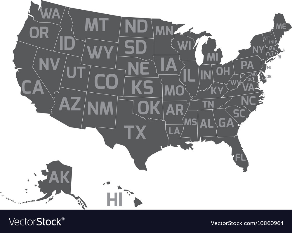 Map Of Usa With State Abbreviations Royalty Free Vector