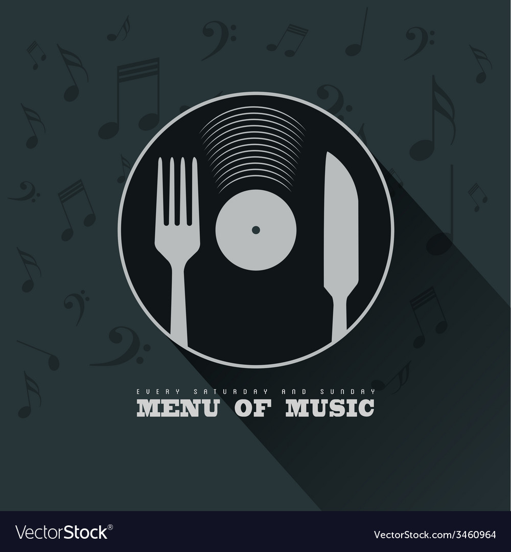 Menu of Music with vinyl knife fork and musical