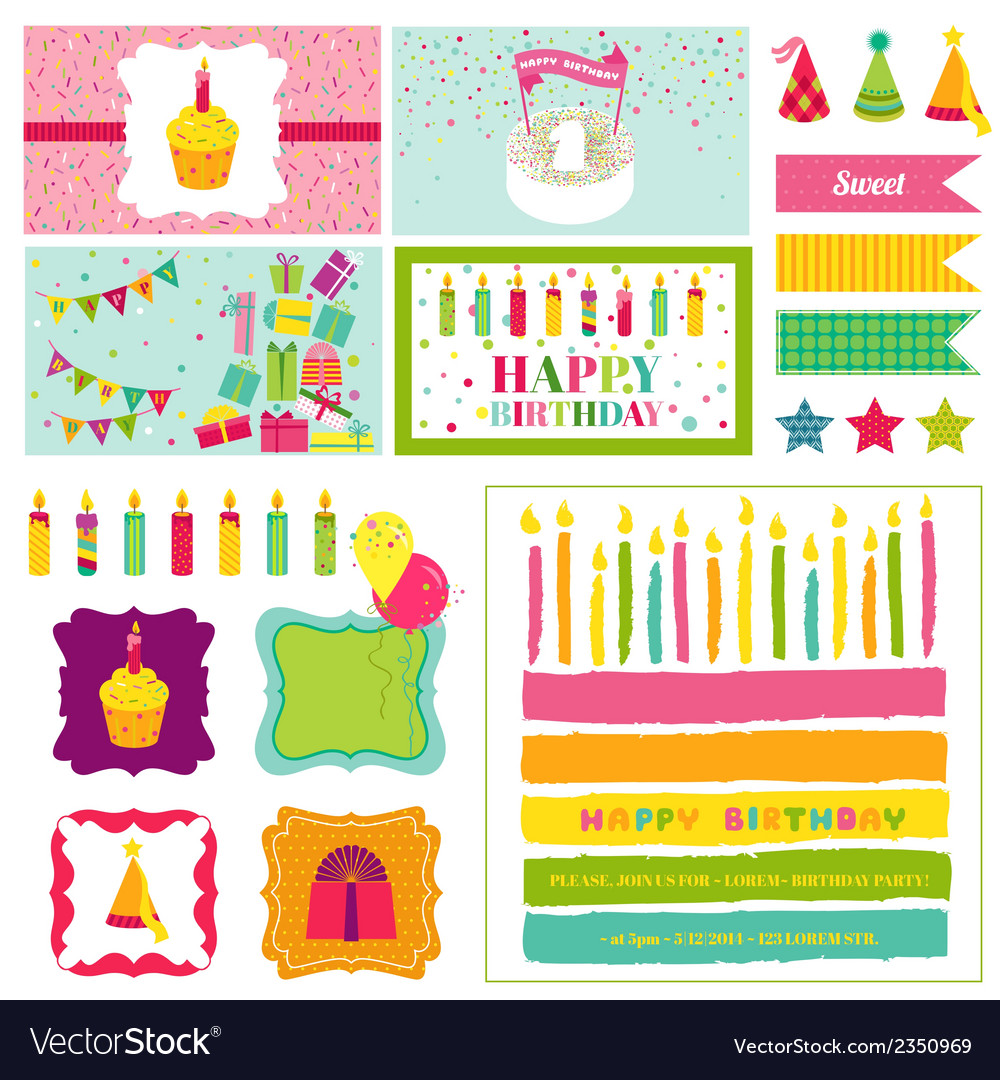 Birthday Party Invitation Set - for Birthday Baby vector image