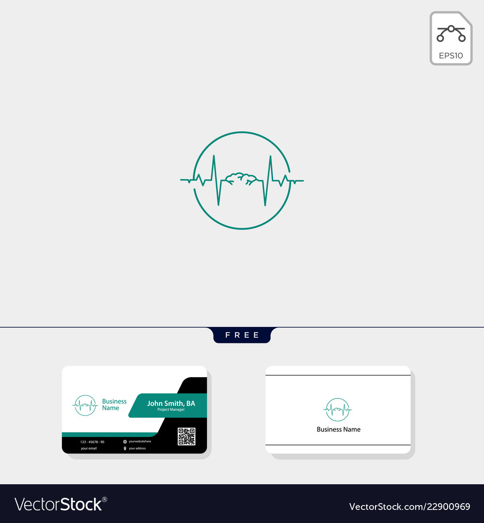 Brain and electric wave concept logo template