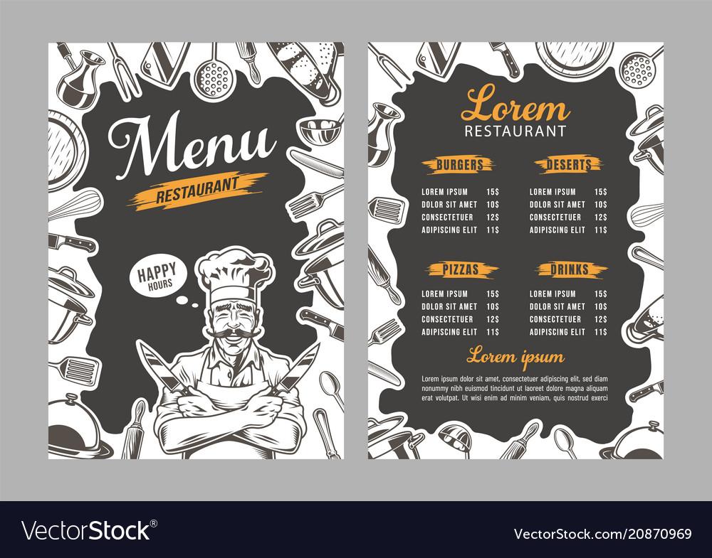 Breakfast menu placemat