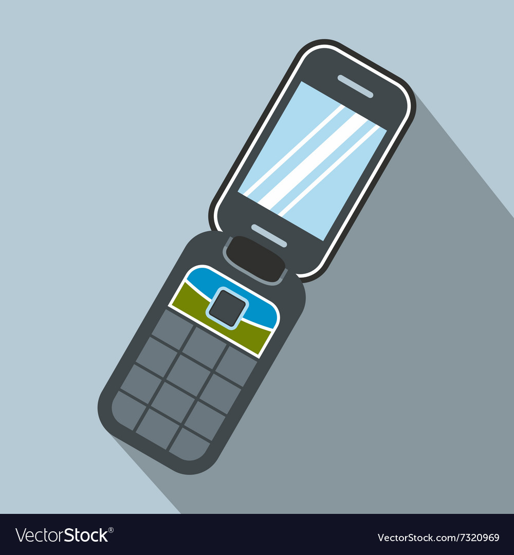 Clamshell Handphone Flat Icon Royalty Free Vector Image