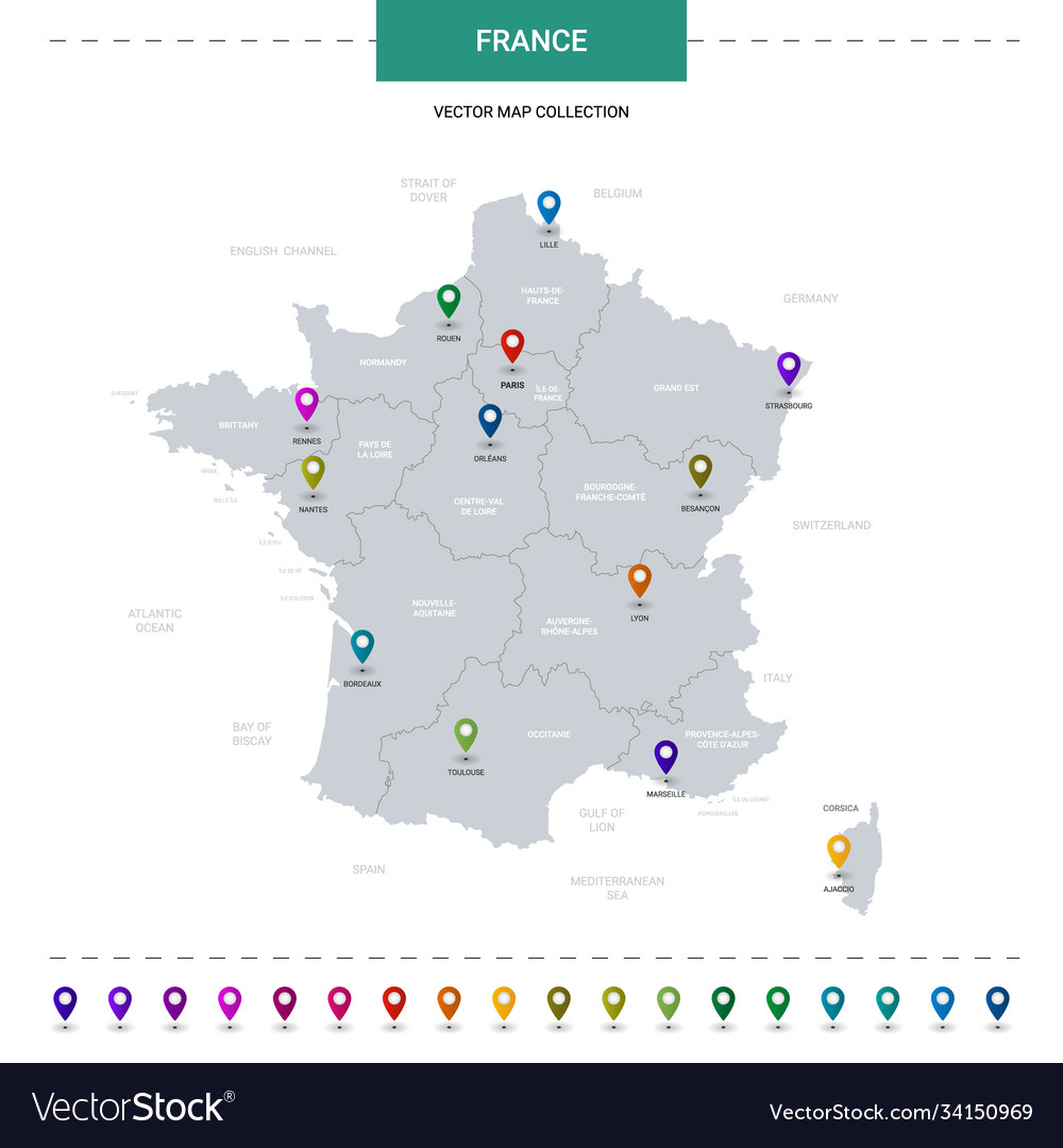 France map with location pointer marks