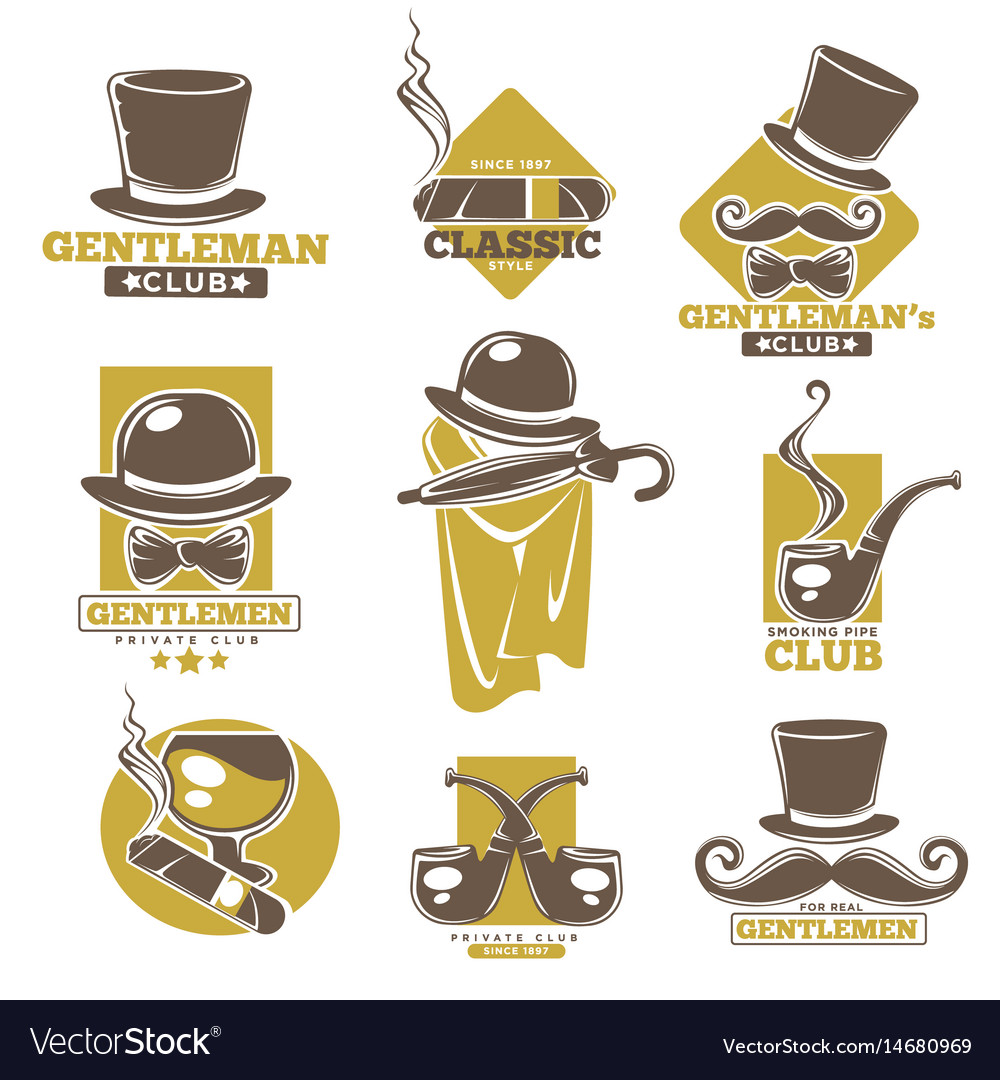 Gentlemen club logo labels set on white colorful