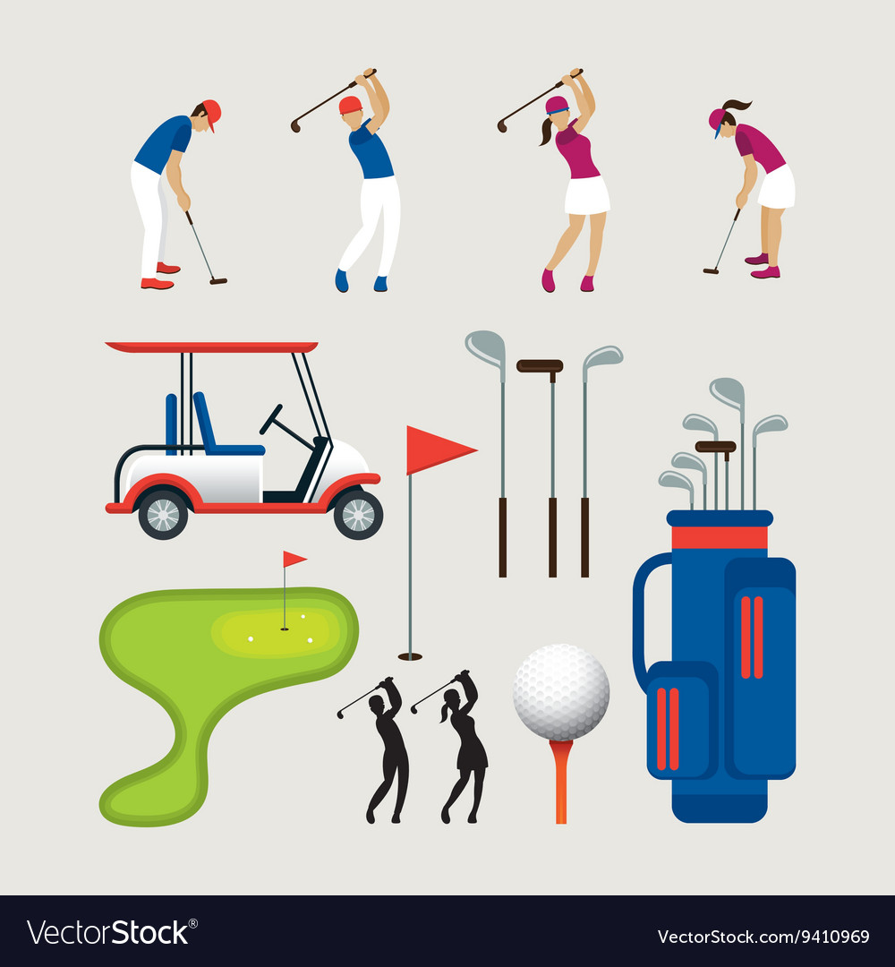 Golf objects and graphic elements