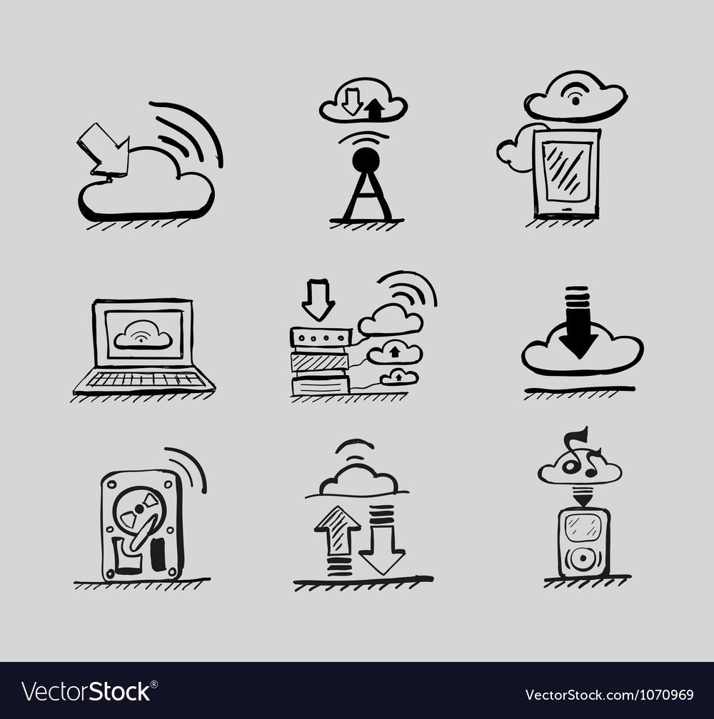 Hand drawn cloud concepts black icon set vector image