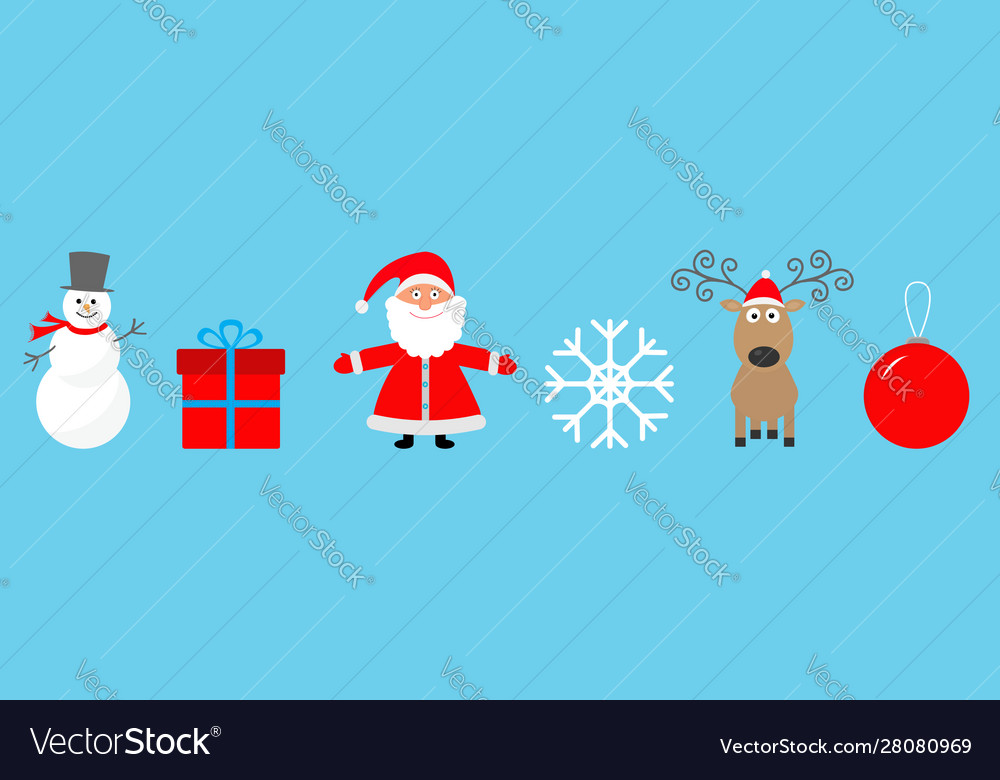 Merry christmas set line snowman santa claus deer