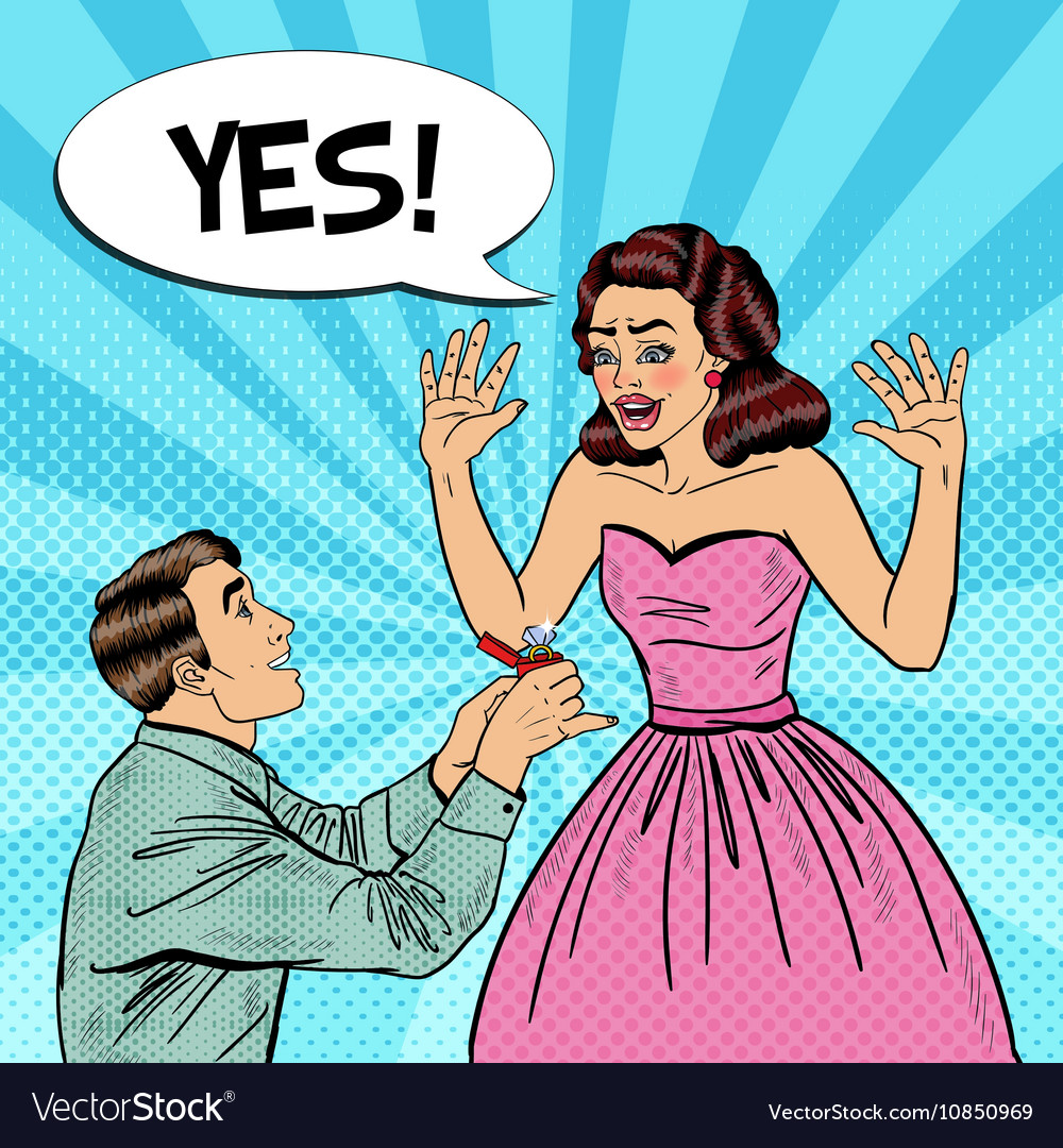 Pop Art Man Doing Marriage Proposal to Girlfriend