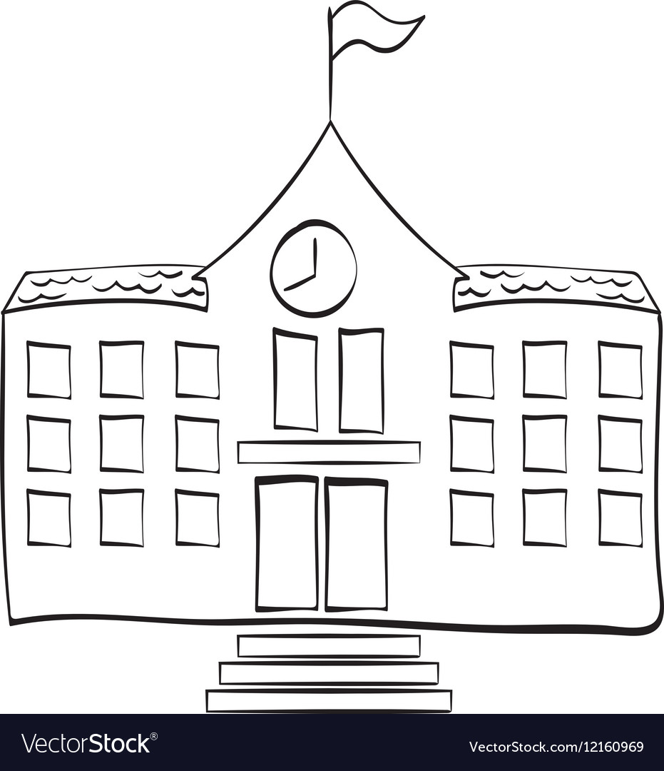 School building draw Royalty Free Vector Image