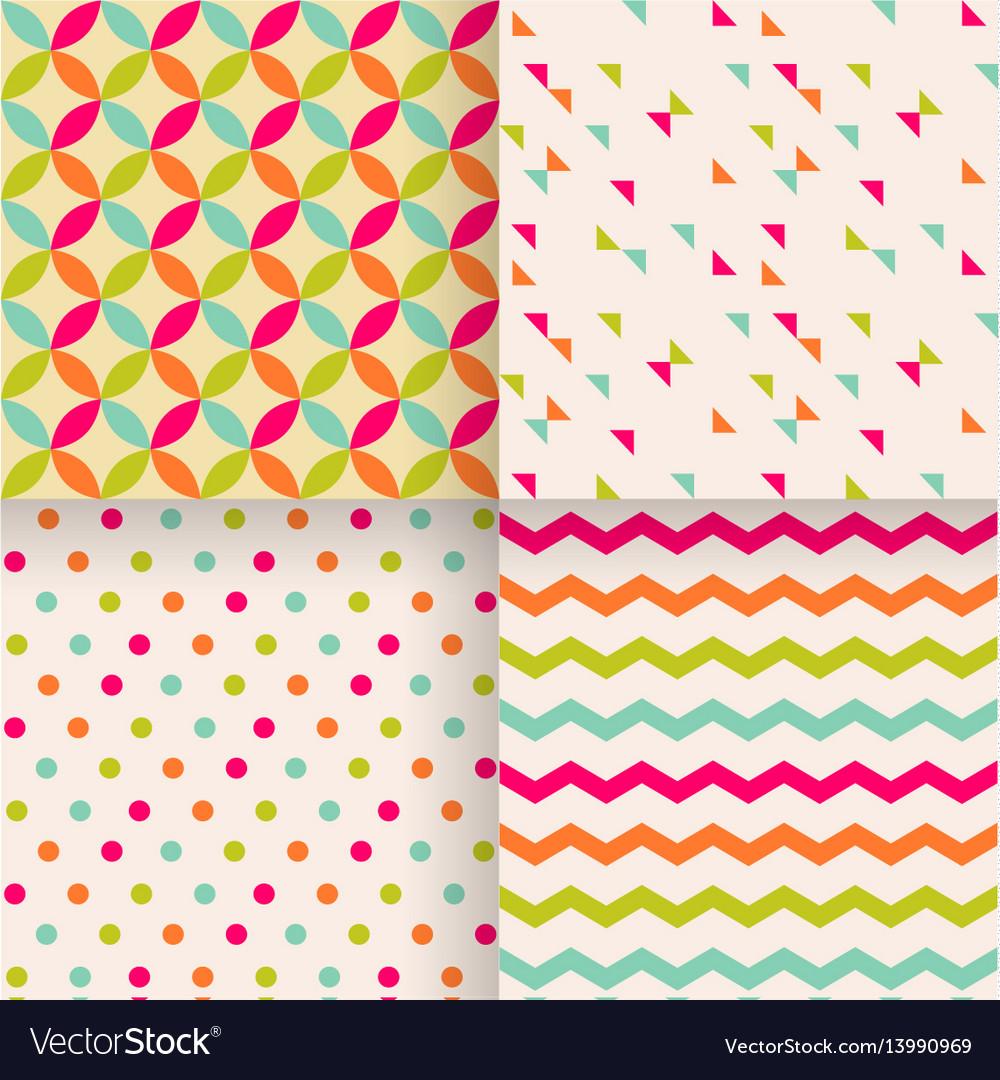 Set of abstract retro geometric seamless patterns