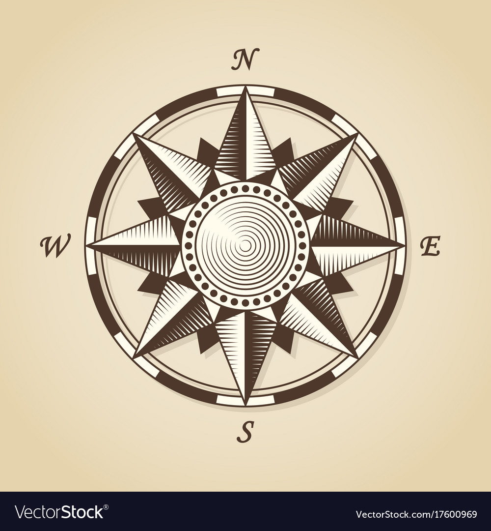 Vintage old antique nautical compass rose Vector Image