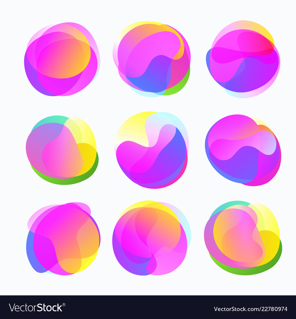 Abstract Color Forms Gradient Fluid Circles In