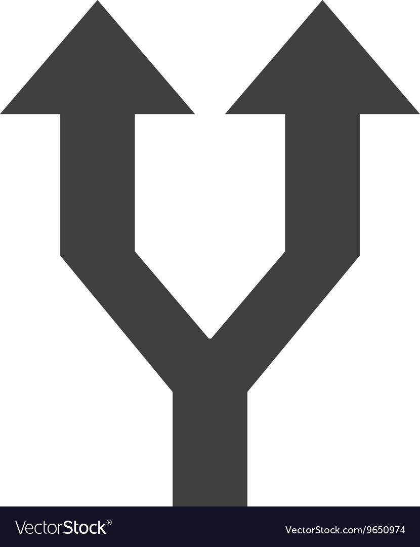 Arrows Up With Two Different Ways Symbol Vector Image
