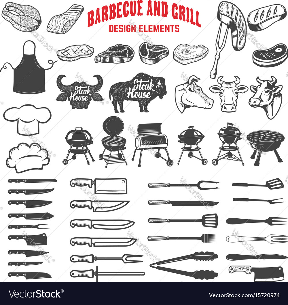 Barbecue and grill design elements for logo label