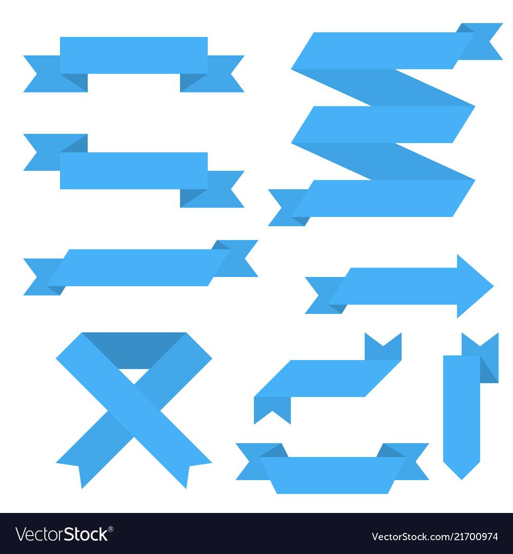 Blue paper scrolls set of ribbon banners