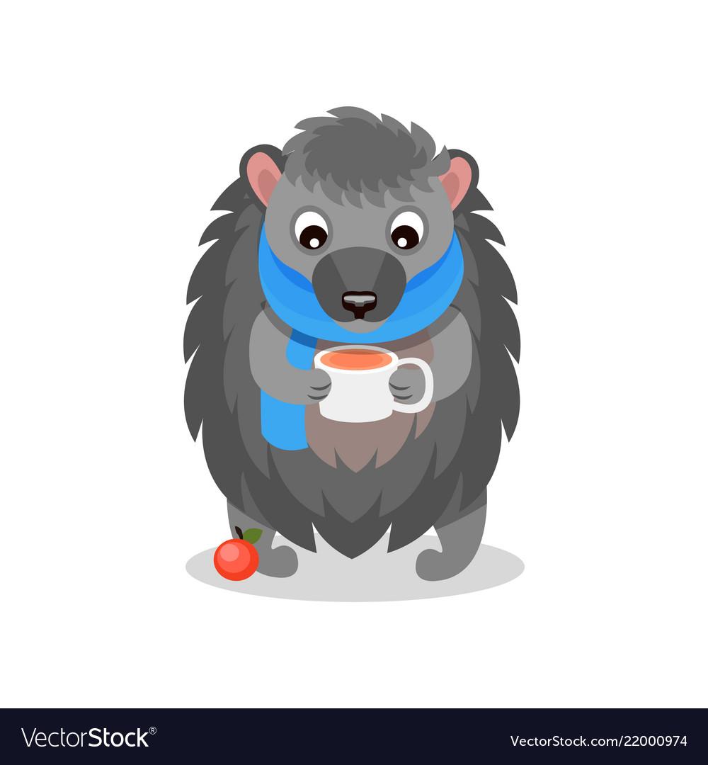 Cute hedgehog wearing blue scarf drinking hot tea