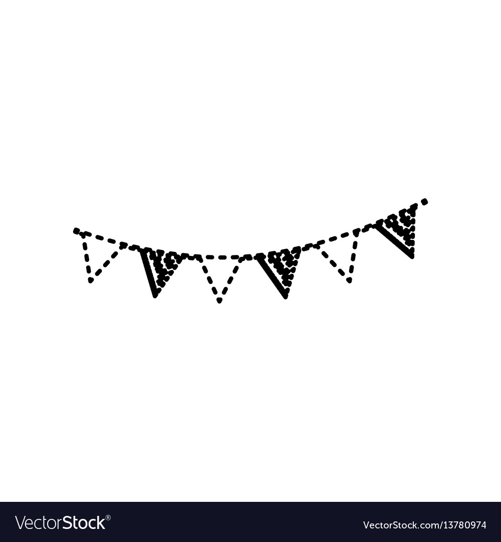 Holiday flags garlands sign black dashed