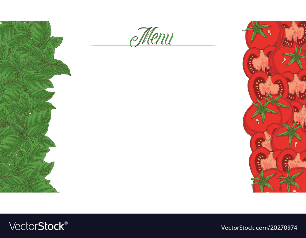 italian flag menu template royalty free vector image