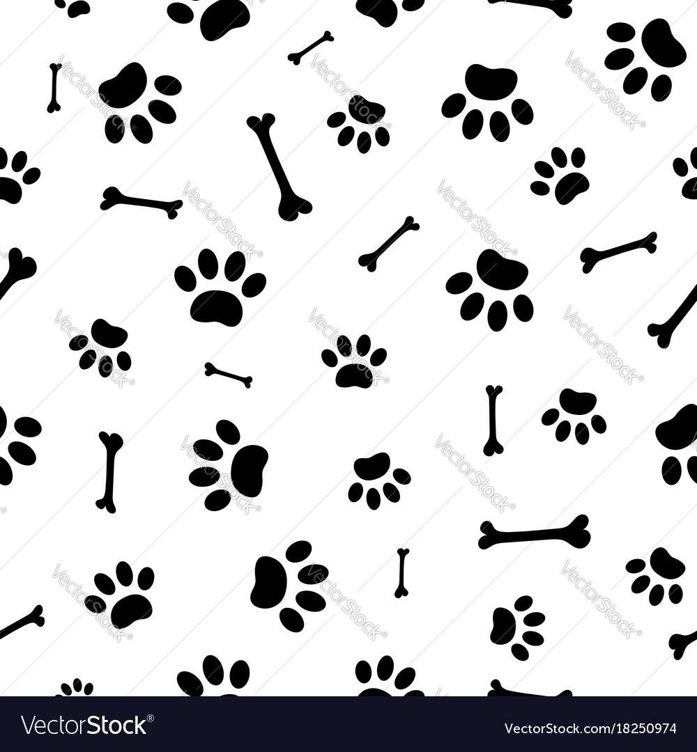 Seamless pattern paw prints dogs