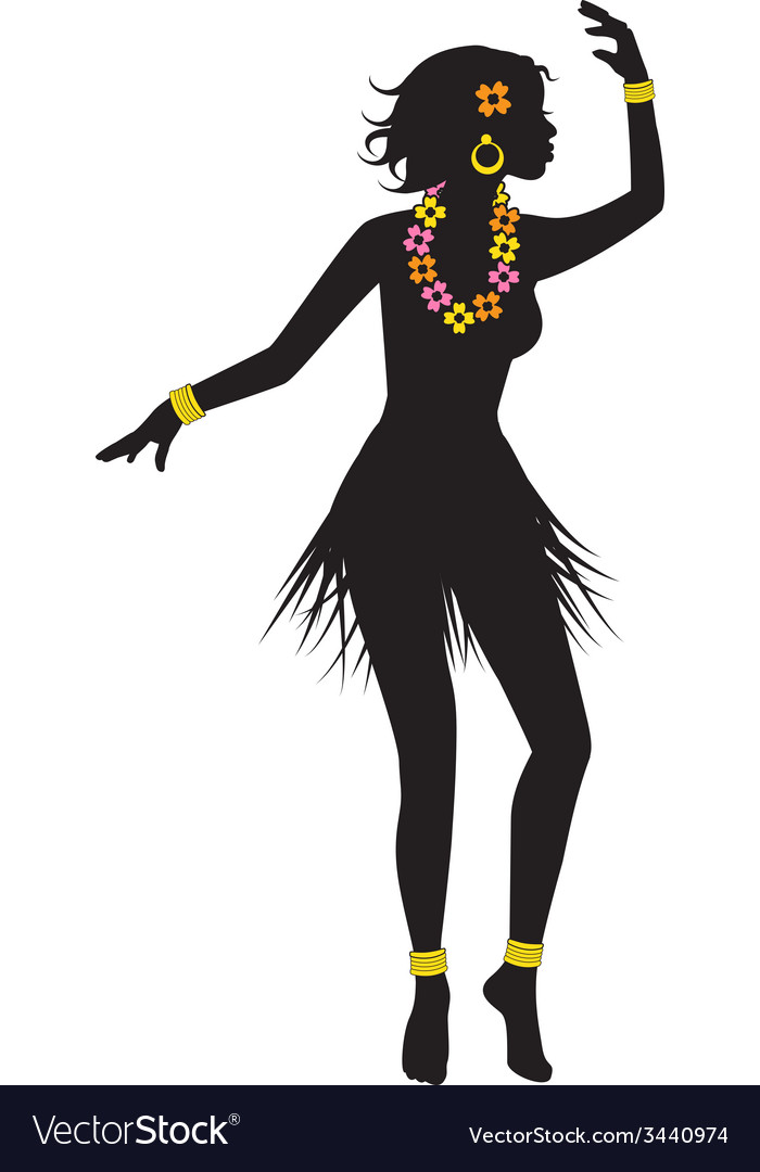 Silhouette of dancing Hawaiian with beads vector image
