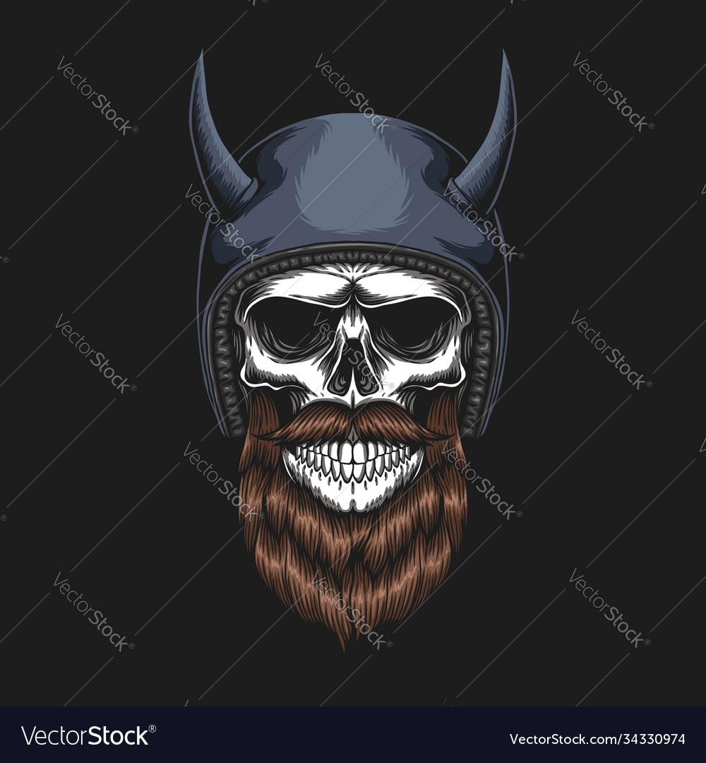Skull biker wearing a helmet