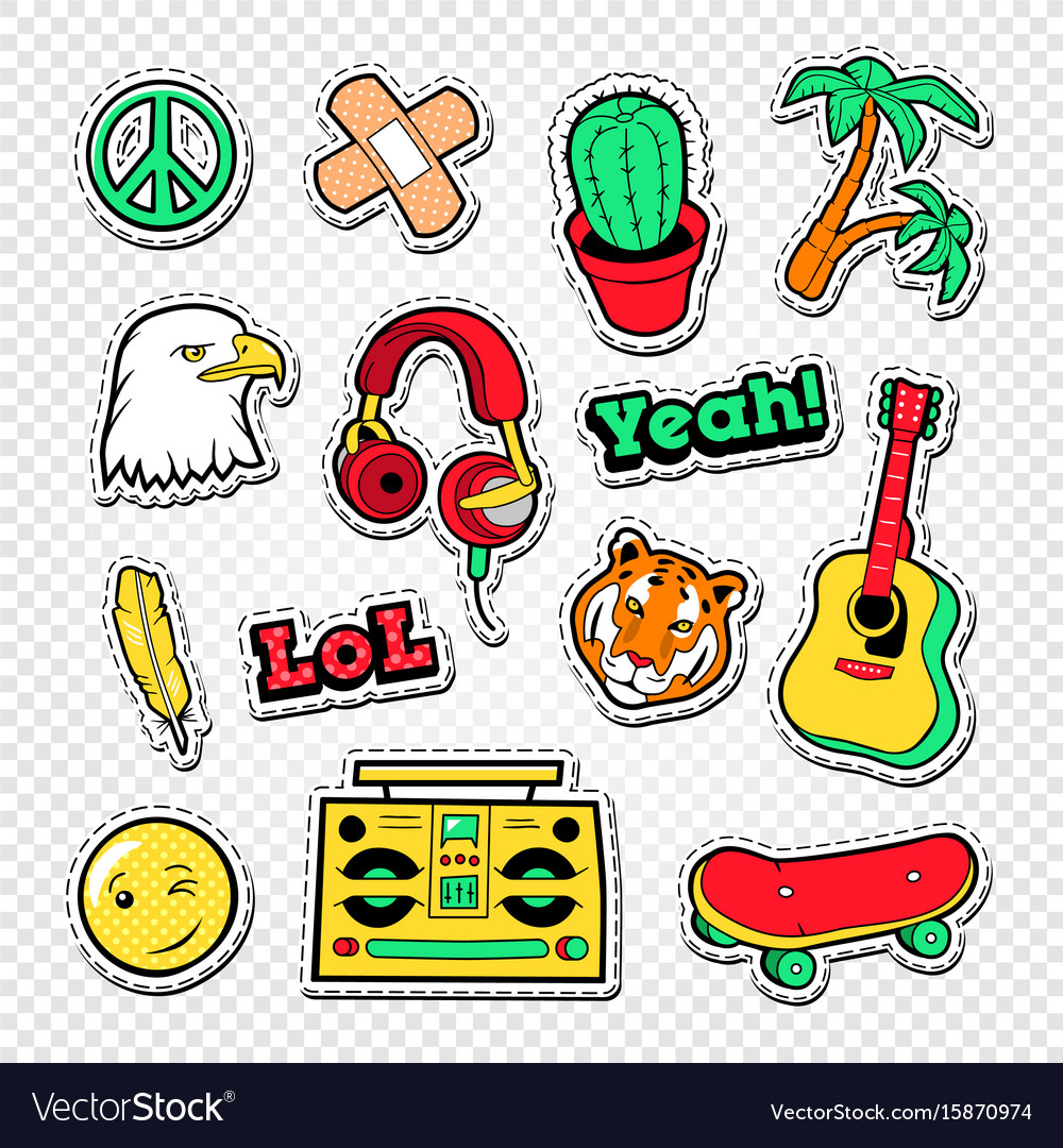 Teen style stickers badges and patches