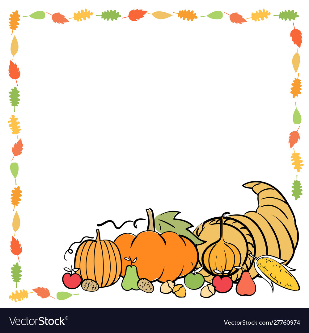Thanksgiving banner card frame template with