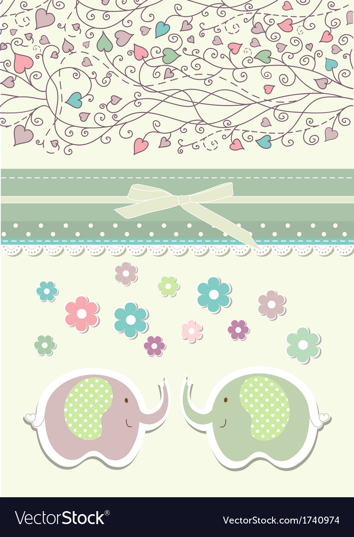 Vintage doodle elephant for frame wallpaper Vector Image