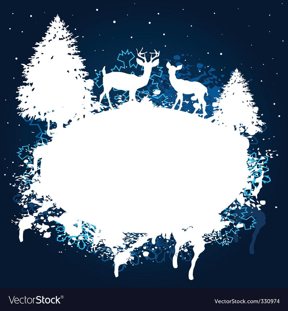 Winter forest grunge paint design vector image