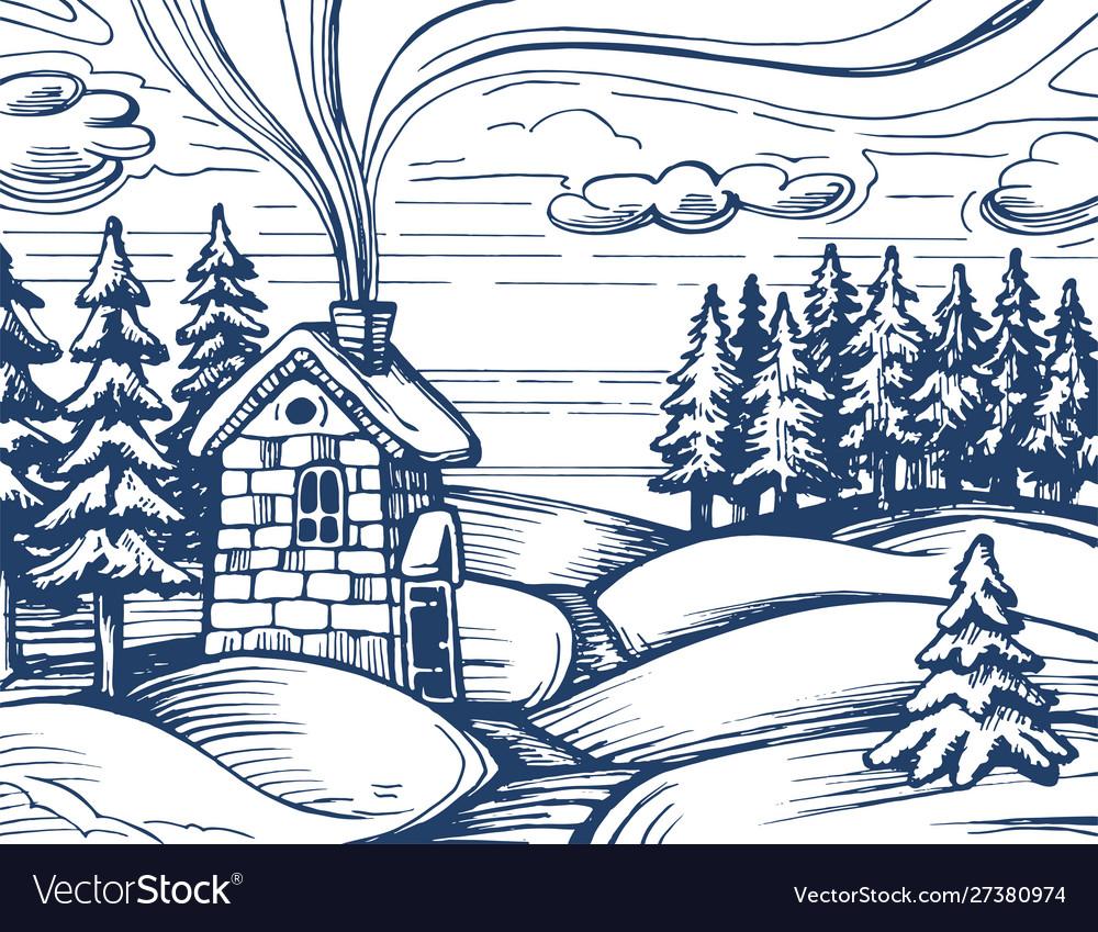 Winter forest sketch